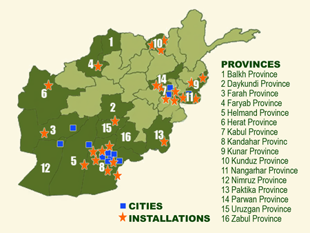 City and province of afghanistan and numerous military installations
